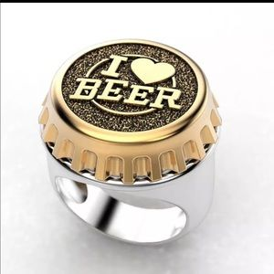 NEW Unisex .925 Silver Beer Bottle Cap Party Ring